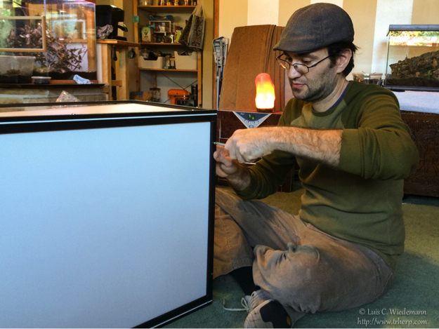 Luis assembling a Dragon Strand cage