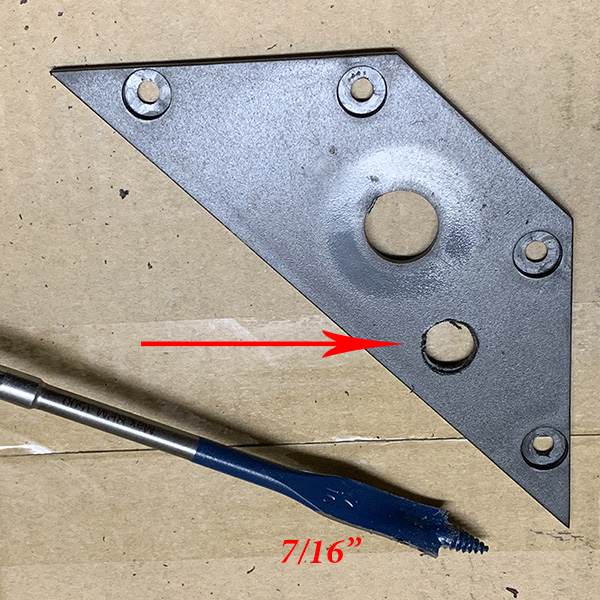 hole drilled in wedge