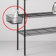 wire basket for shelving systems
